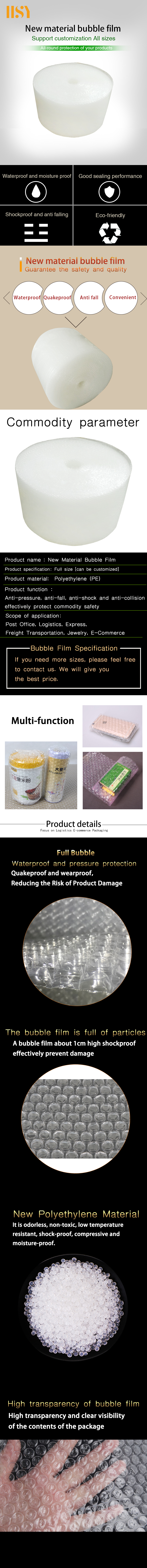 New Raw LDPE Material Air Bubble In Rolls Inflatable Air Bag Bubble-Wrap Roll Packaging Material Air Cushion Film