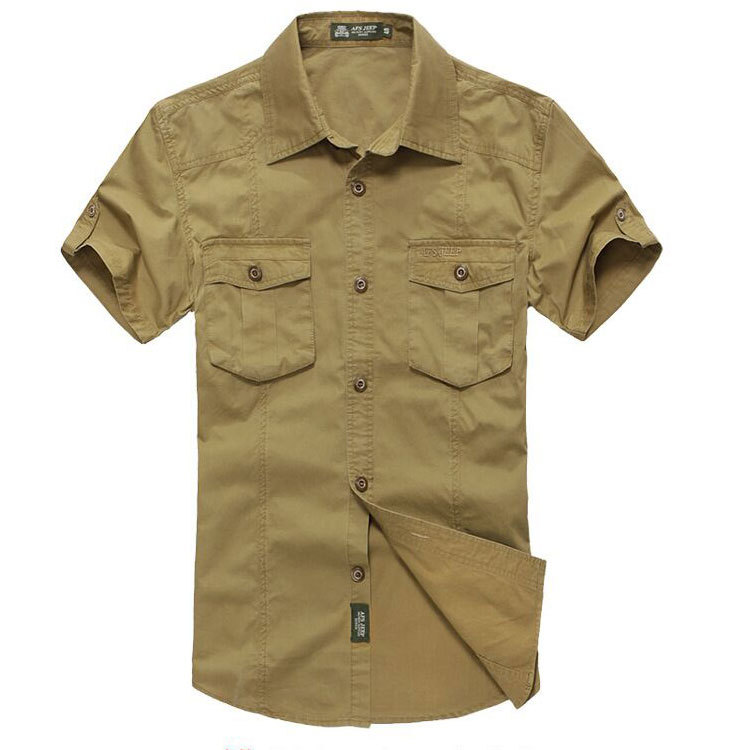 989bc6c6f73 Buy Plus Size Khaki Shirt 3xl Summer Mens Solid Color Dress Shirts 100% Pure  Cotton Short Sleeve Shirt Business Casual AFS JEEP 1361 in Cheap Price on  ...