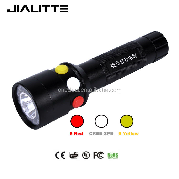 Jialitte F029 Outdoor Railroad Handheld Dual Light Sources Flashlight Red Yellow White Q5 + Leds RGB Led Signal Torch