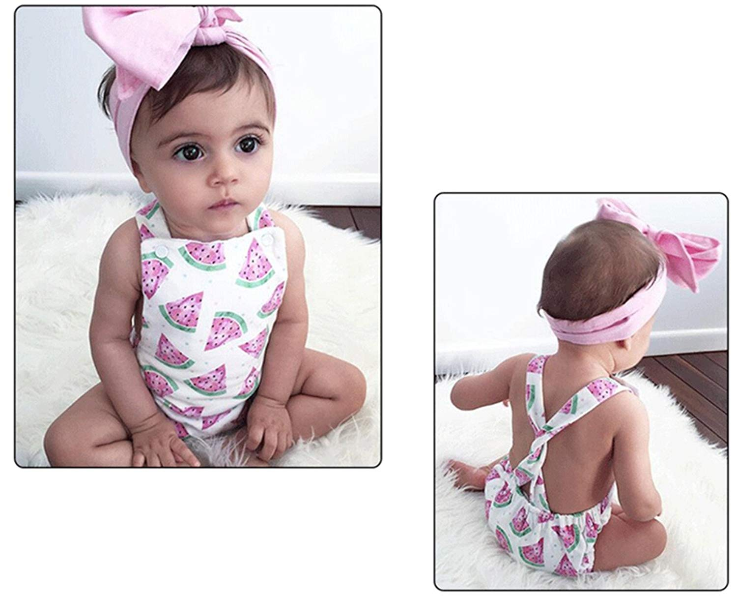 homeyusa Baby-Girls Sleeveless Tassel Romper Overalls+ Headband Baby Bodysuits