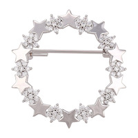 00007 xuping minimalist blind diamond jewelry silver color Flowers and stars brooch