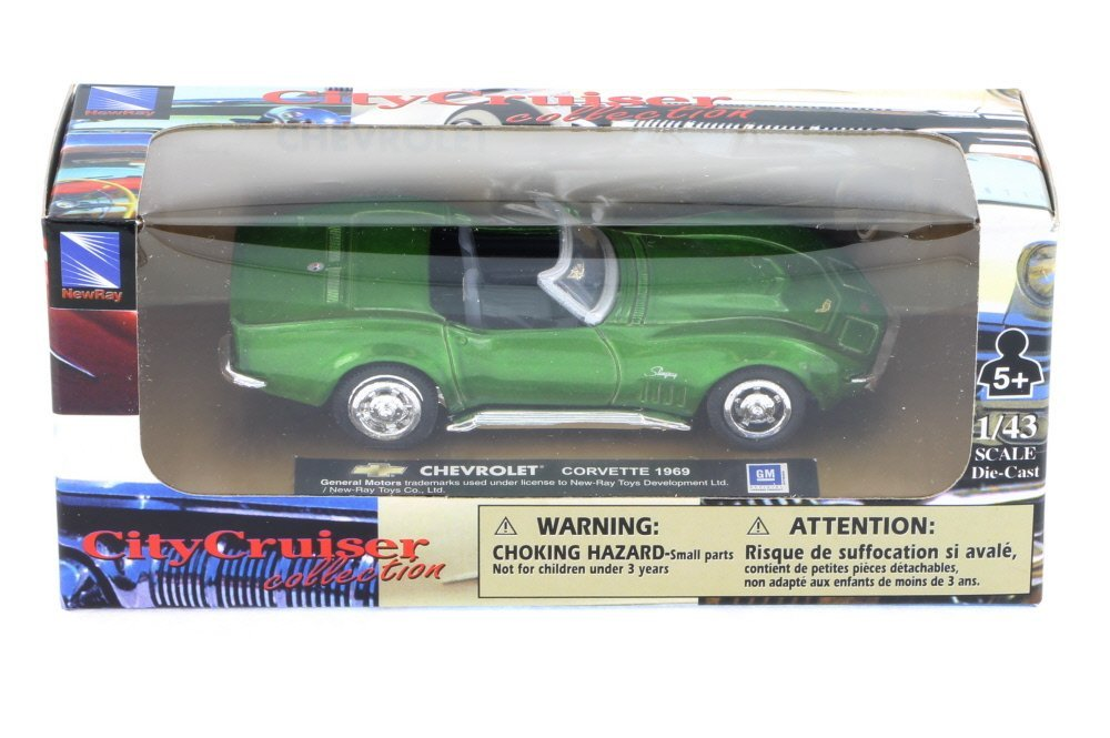 1971 Chevy Corvette Convertible, Electric Green - New Ray 48257 - 1/43 Scale Diecast Model Toy Car
