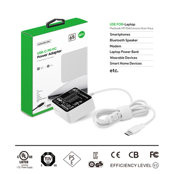 UL CB CE ROHS FCC Certified 65W USB Type-C Universal Laptop Charger for New Type C