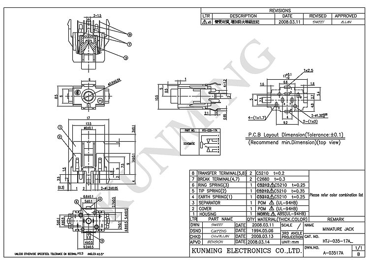 3 5mm Stereo Jack Pda Socket Htj 035 17 Series Vertical