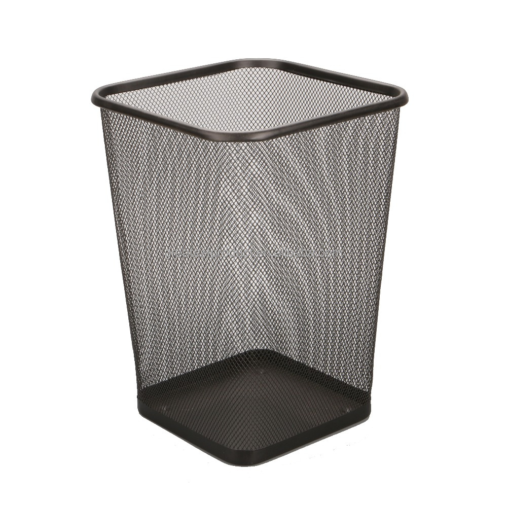 Round metal wire trash can waste paper trash bin in office for garbage container trash can