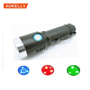 1200 Lumen Aluminum Alloy XM-L2 Waterproof USB Rechargeable Torch 3 Colors RED Green Blue Light Emergency 18650 Flashlight