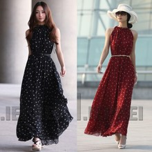 Best Selling Sexy Women Boho Long Maxi Evening Party Chiffon Dress Sleeveless Polka Dot Dress