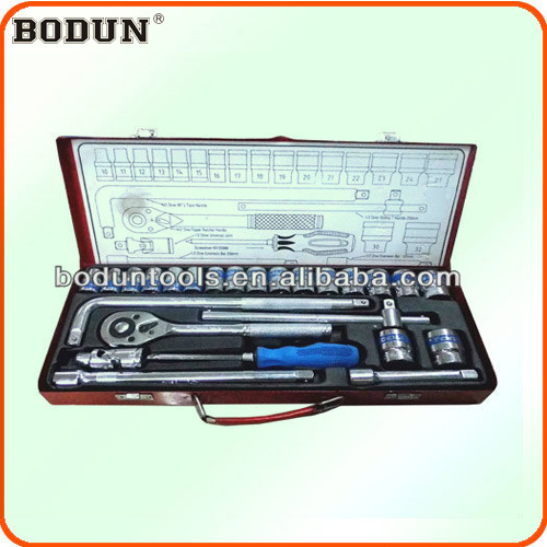 "D6009-2 1/2"" DR. 25pcs socket wrench/spanner tool set with iron box"