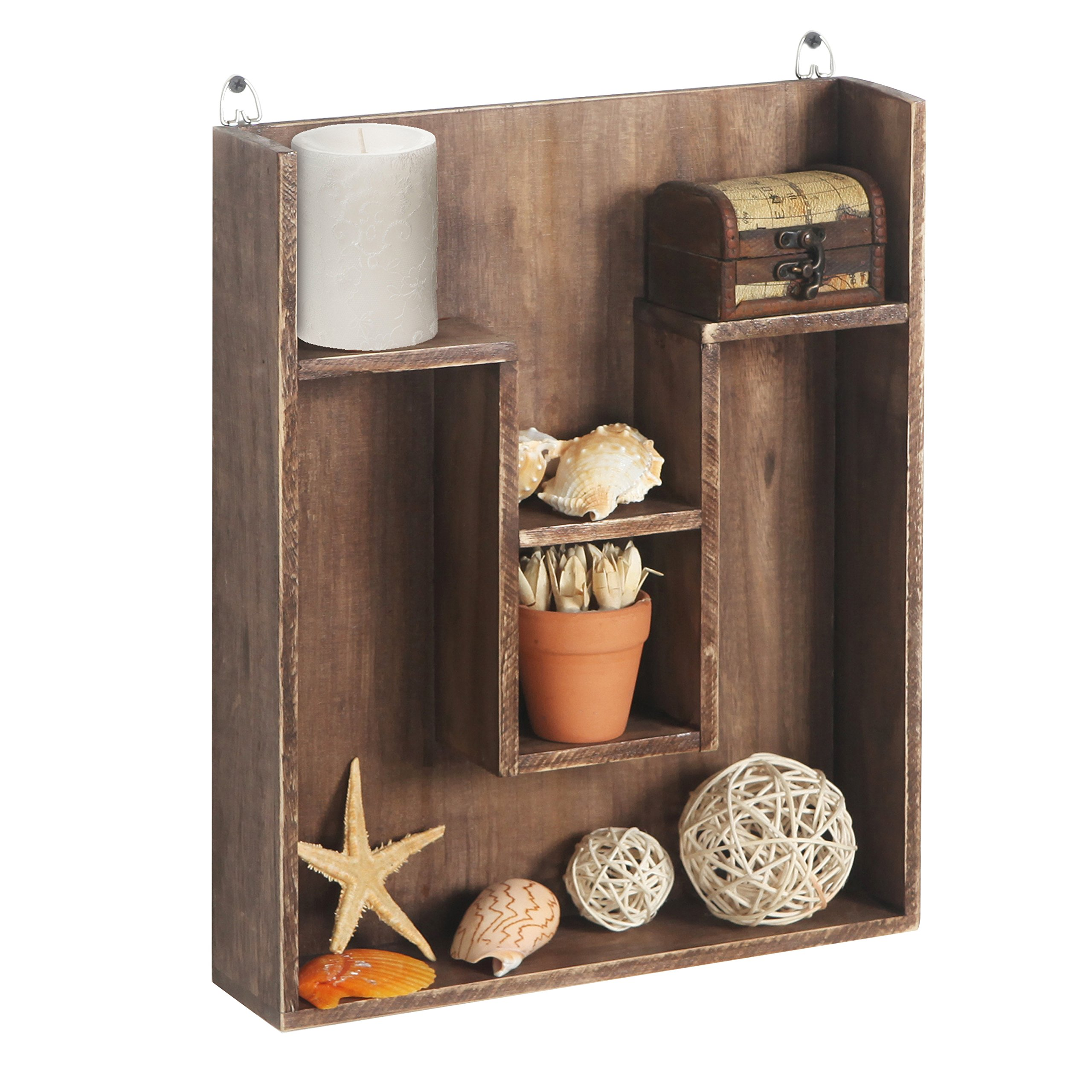 Wall Mounted Wood Cubby Display Storage Shelving Unit Shadow Box Dark Brown