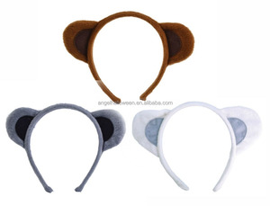 Brown Grey White Soft Fur Animal Ear on Headband Dog Monkey Mouse Bear Ears Headband BH4061