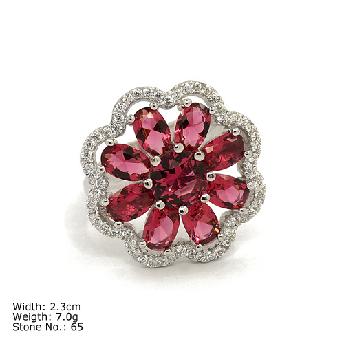 RZQ-0169 big red stone flower rings classic designs jewelry for party