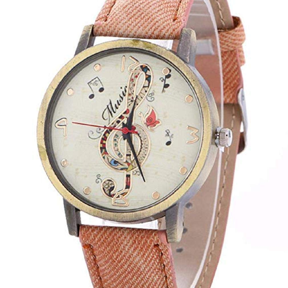 Womens Quartz Watches, Windoson Musical Notes Pattern Unique Analog Fashion Clearance Lady Watches Female Watches Casual Wrist Watches for Women Faux Leather Watch (Rose Gold)