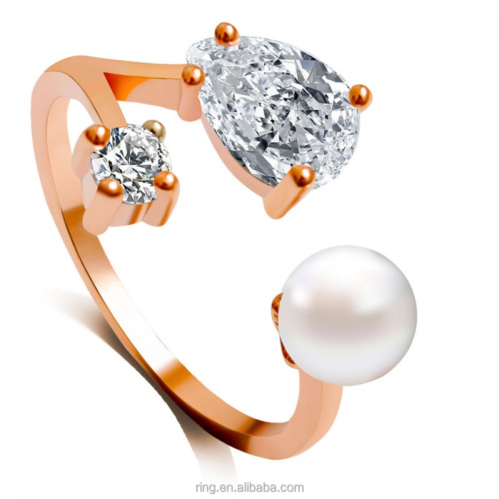 Crystal Pearl Musicial Finger Ring Cubic Zircon Rose Gold Music Band Ring Fashion Jewelry