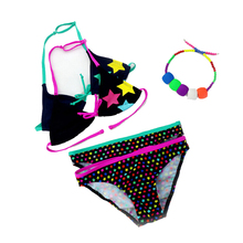 2015 New Summer girls split three-pieces Swimwear, children Cute star pattern split bikini girls swimsuit wholesale
