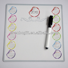 Custom magnetic dry wipe board with marker/ square shape printed your logo magnetic dry erase white board with pen