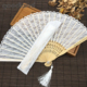 Amazon eBay Aliexpress chinese custom personal bamboo lace hand folding wedding fan with lace pouch