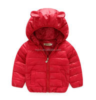 Plain Design Winter Coat For Baby Girls With Ear Hood Waterproof Children Jacket With Pocket