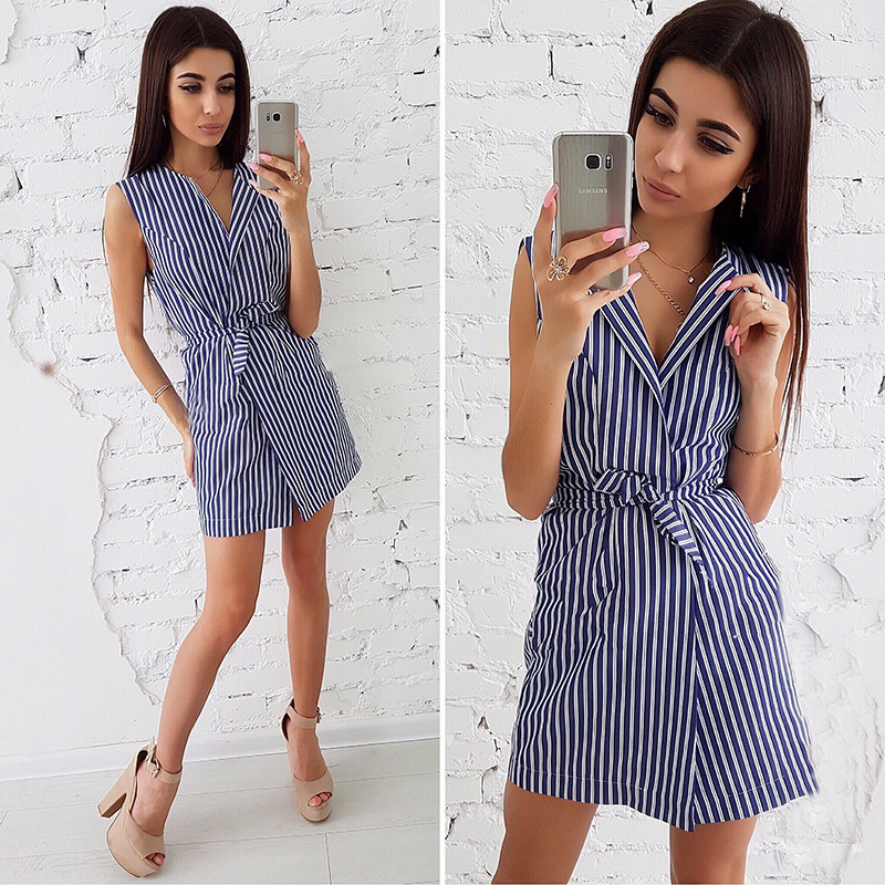 Hot sale summer classic short sleeve hot girls slim fit stripe shirt dress фото