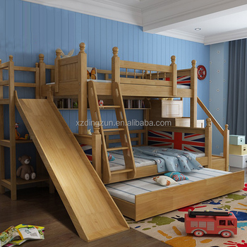 European Design Wooden Bunk Bed With Slide Double Bunk Bed For