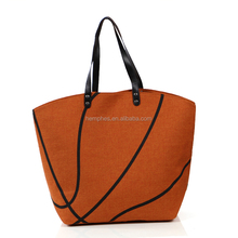Wholesale Monogram Canvas Baseball Tote Bag With Leather Handles
