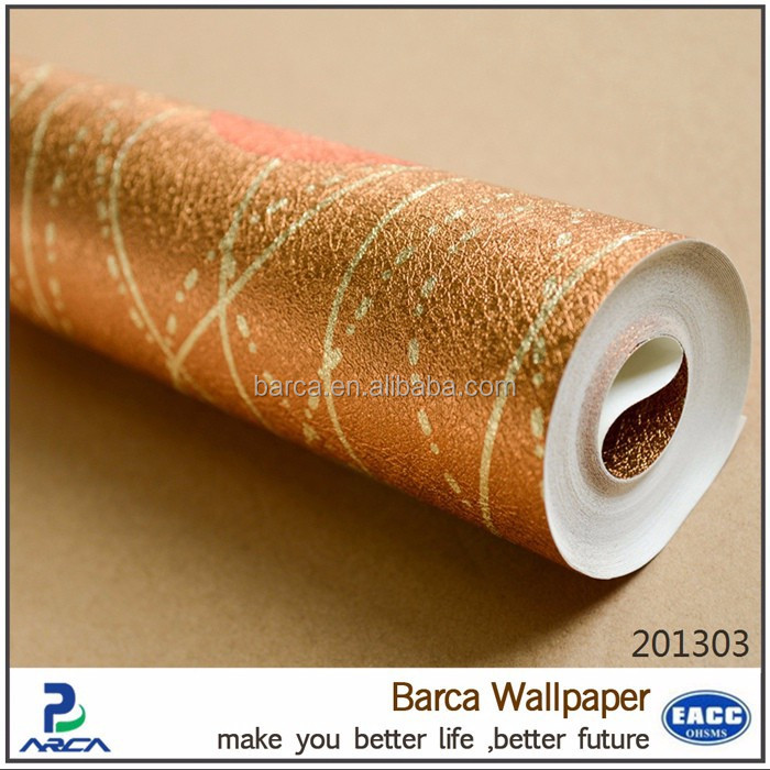 Barca 201303 light <strong>orange</strong> bubbles golden glittering metallic wallpaper rolls
