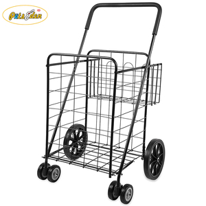 2018 Good Performance Folding Metal Shopping Trolley Carts 4 Wheels Shopping Carts