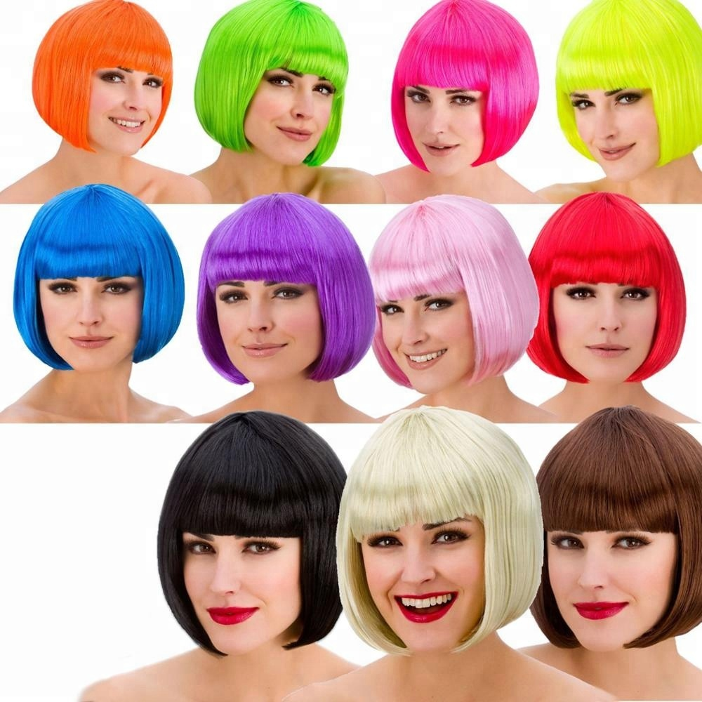 Ladies Diva Short Hair Red Bob Wig Fringe Fancy Dress Hollywood 1980s Disco