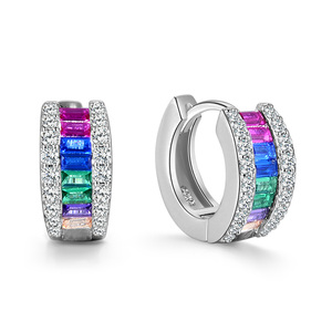 POLIVA China Jewelry Supplier 925 Sterling Silver Colorful Zirconia Hoop Huggie Rainbow Earrings