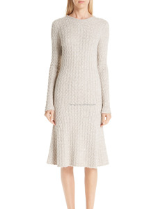 Dressy round neck ribbed women long sleeve cable knit sweater dress