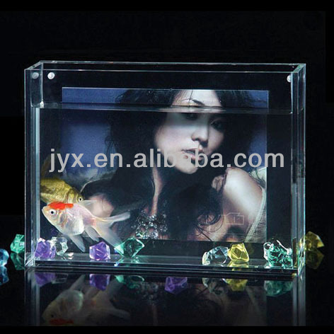 New Square Acrylic Bowl/acrylic fish tank display with photo frame