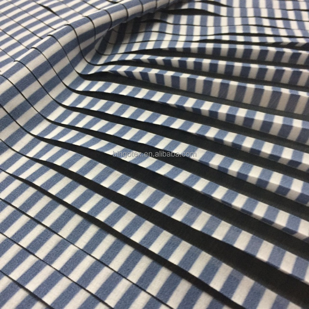 pleated and printed chiffon fabric with blue stripes for dress