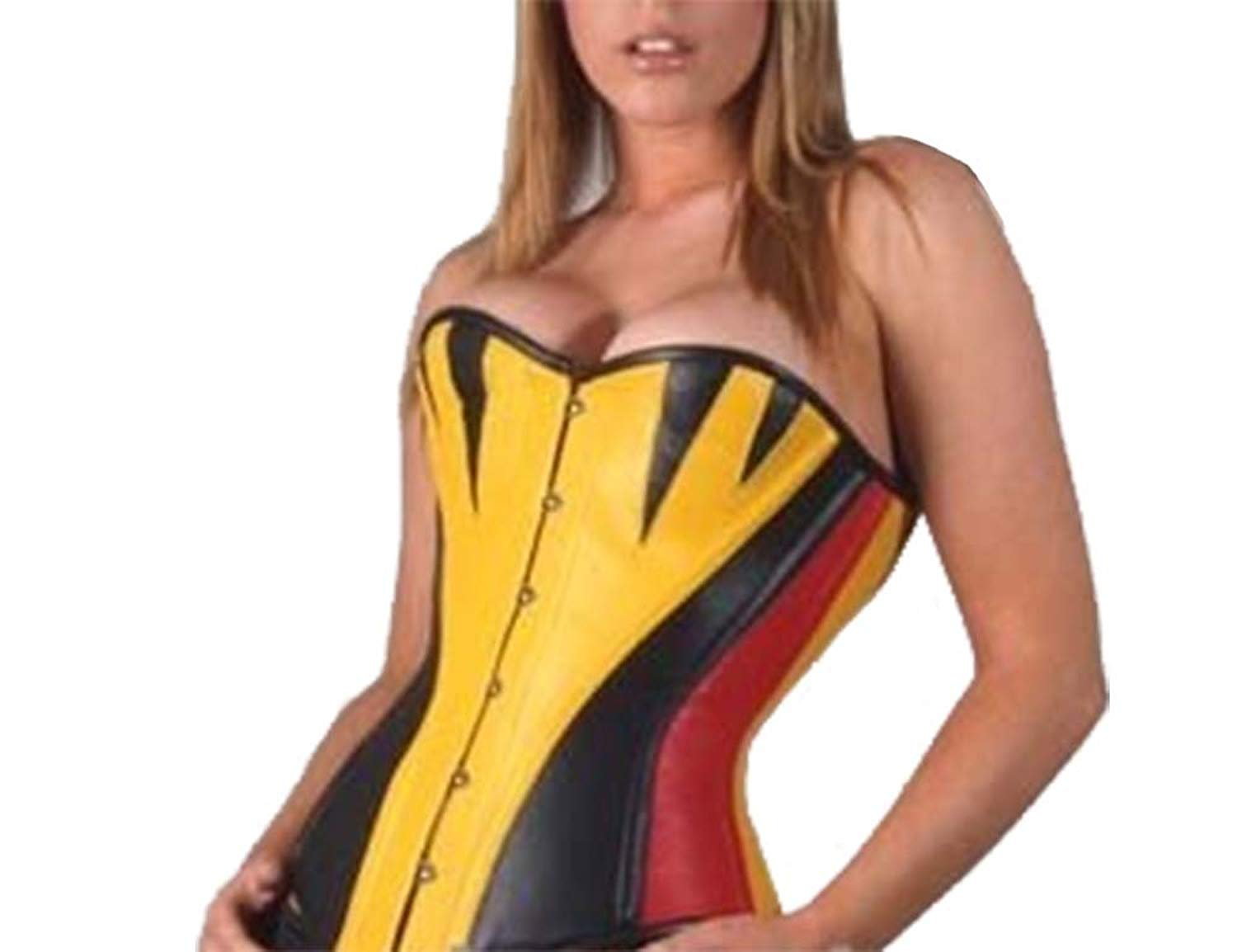 d2298b0701c Get Quotations · Leatherotics Yellow Leather Corset Bustier Steel Boned Over  Bust Fitting 1270Y
