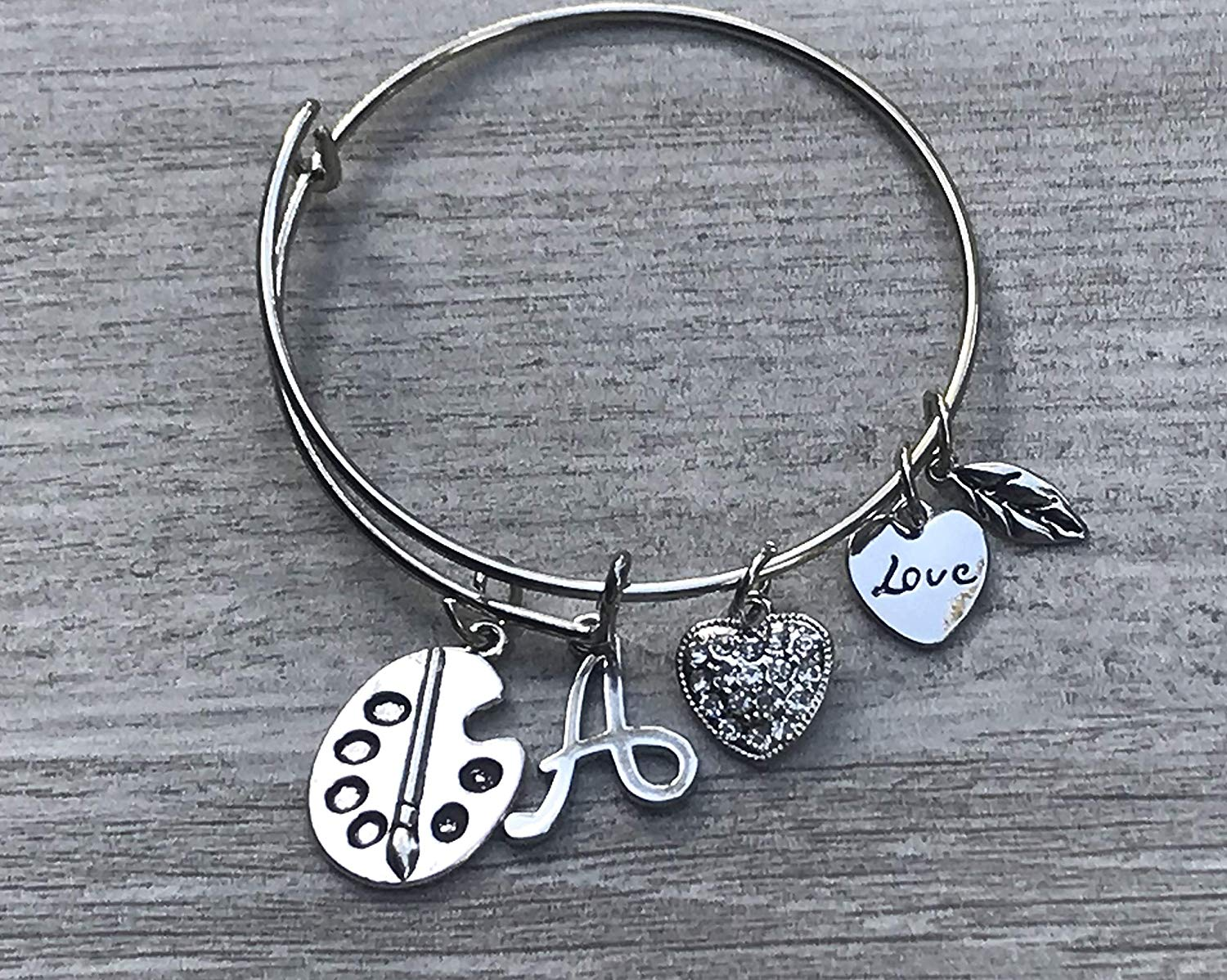 Personalized Artist Bangle Bracelet with Initial Letter Charm, Custom Art Jewelry for Her