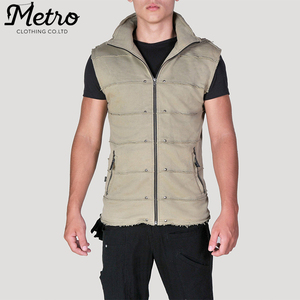 MEN ZIP FRONT UNFINISHED HEM TERRY PLAIN HOODED VEST