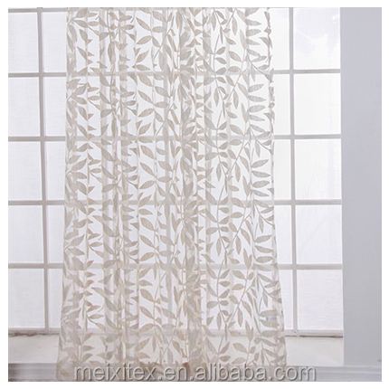 Leaf Burnout Sheer Curtain,Polyester Cotton Fabric Burnout Curtain,fancy curtain valances