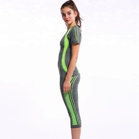 OEM Gym women sport sets fitness clothing yoga set running Dry Quick Two pieces suits Compression Jogging Breathable top