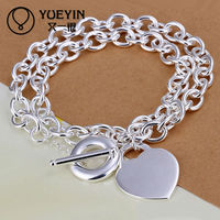2014 small MOQ silver heart tag toggle necklace