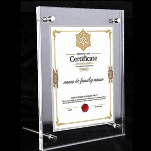 Transparent rectangle acrylic certificate photo frame