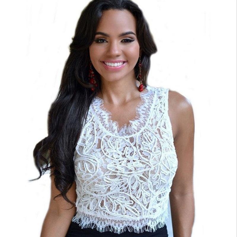 36b9e6de25a5c Get Quotations · 2015 Summer Sleeveless Lace Top Black White Embroidery Tank  Tops Short O-neck Flroal Crochet