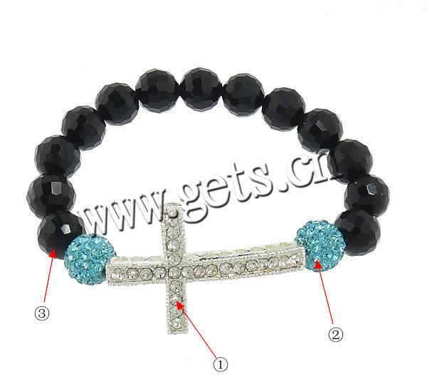 Zinc Alloy 38.5x25.5x5mm, 10mm bead crystal pave