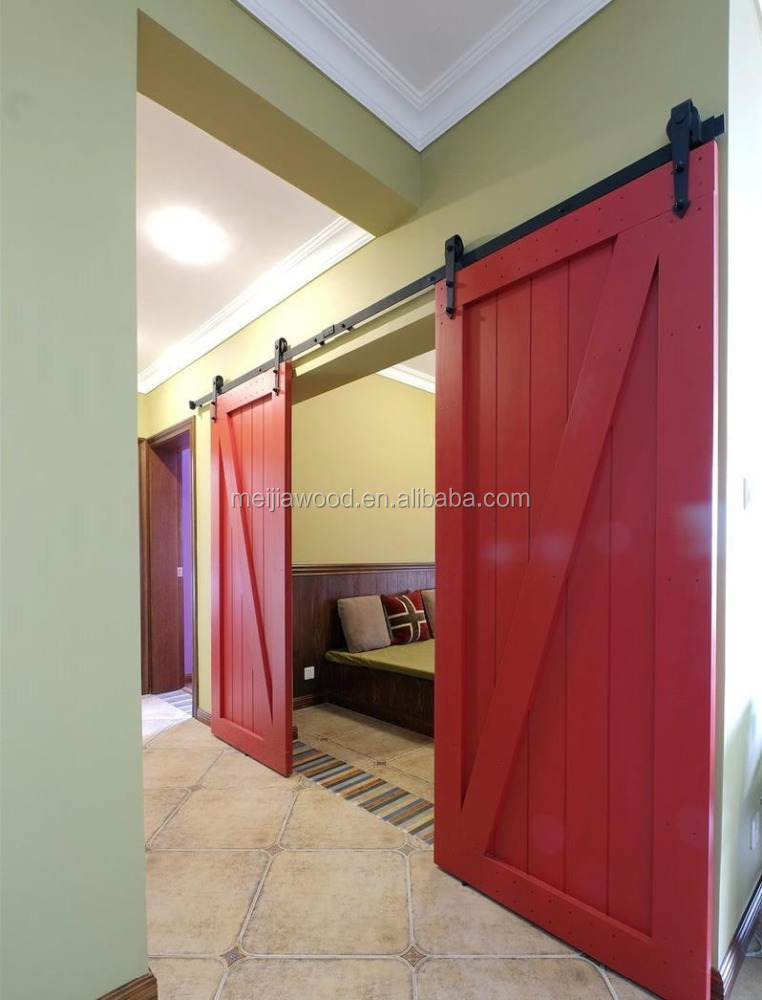 Red Classical Full Z Brace Double And Single Barn Door With Warm And Sweet Room