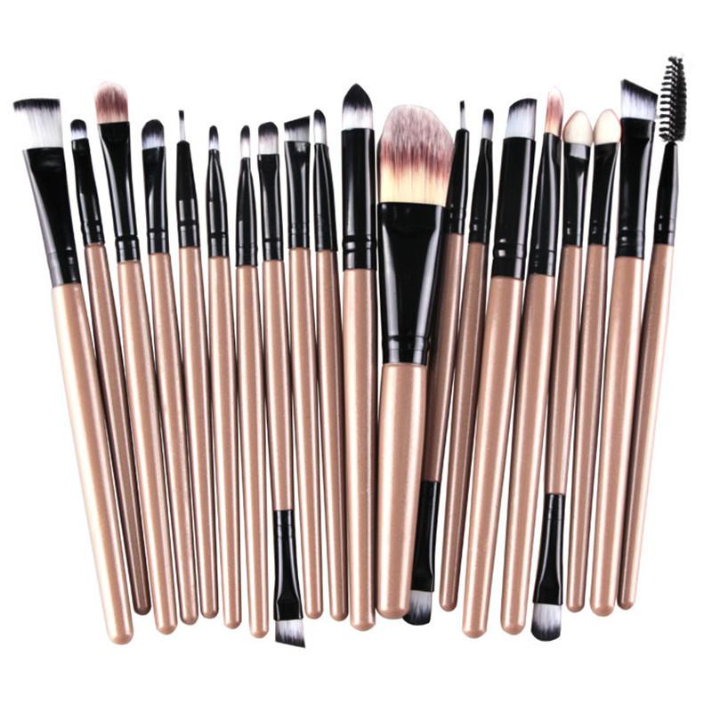 20Pcs Makeup Brushes Set Pro Powder Blush Foundation Eyeshadow Eyeliner Lip  Gold Cosmetic Brush Kit Beauty 69d9e4e406f4