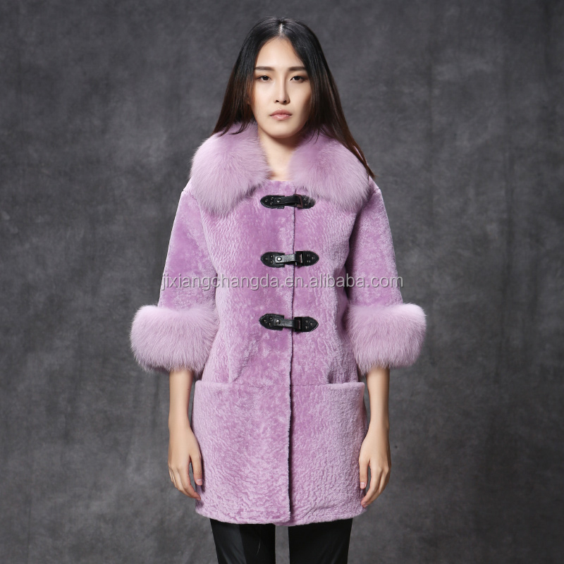 Pink light grey purple pink merino fur coat for women wear with fox fur trim
