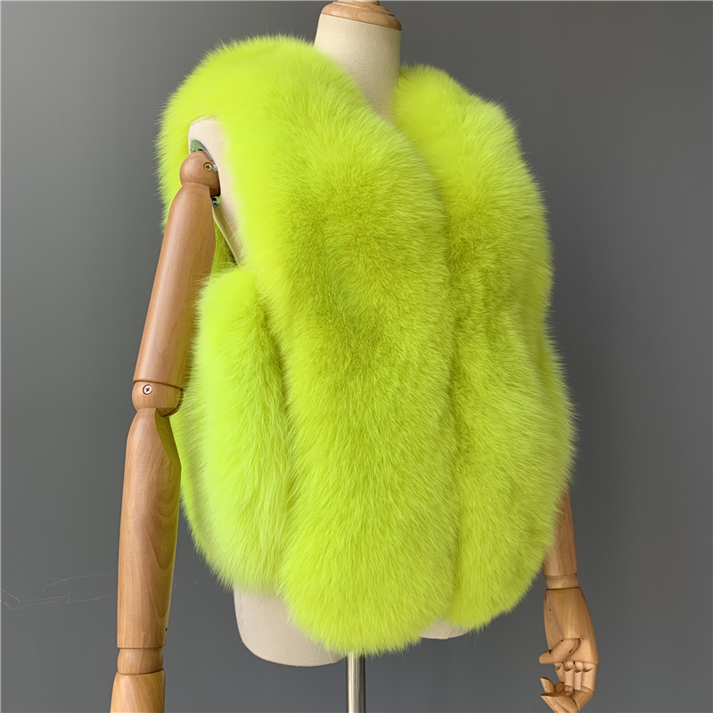 Mao Mao Fur Neon Green Short Luxury Gilet Warm Fur Fox Vest