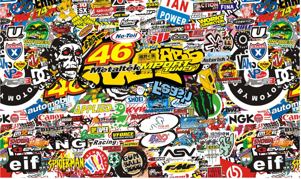 Auto doodle film stickerbomb cartoon graffiti art vinyldecal sticker buy sticker bomb 3d text auto vinylcar hood vinyl decal stickercar body wrap