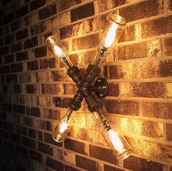6.27 32 Lamp. Beer Bottles, Plumbing Pipe Fittings. Wall Light. Lighting