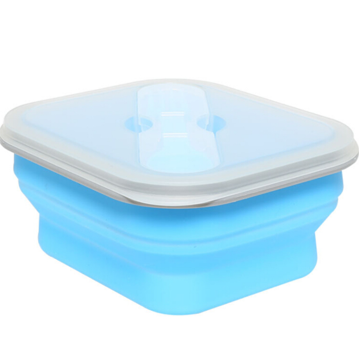 600 ml Magnetron Veilig opvouwbare Siliconen Lunchbox Inklapbare Silicon Voedsel Container met lepel vork