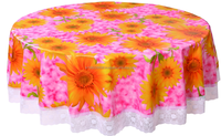"PVC Vinyl / PEVA table cloth with 2""/3"" lace broder"