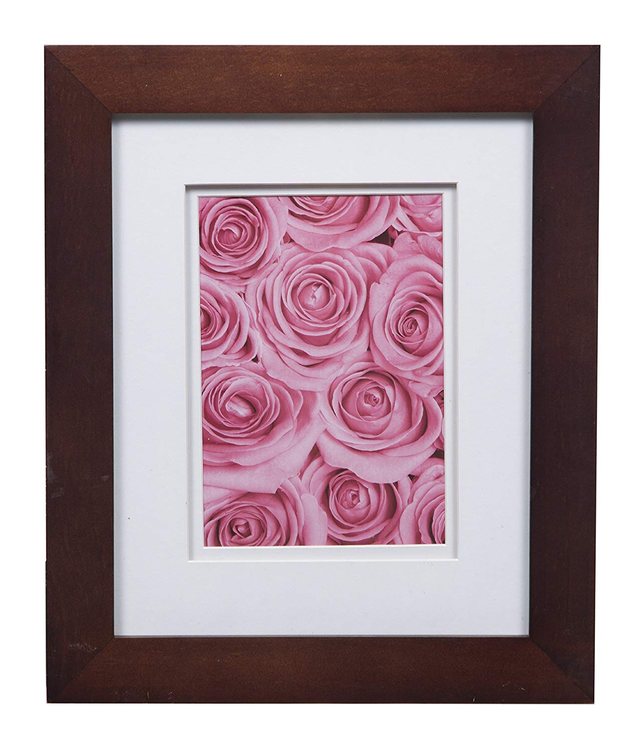 Gallery Solutions Flat Tabletop or Wall White Picture 8X10 Walnut Double Frame, MATTED to 5X7, 8 inches x 10 inches