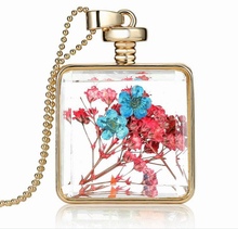 european and american export dry flowers perfume bottle necklace sweater chain necklace factory direct wholesale glass